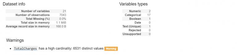 pandas_profiling liste des variables du dataset